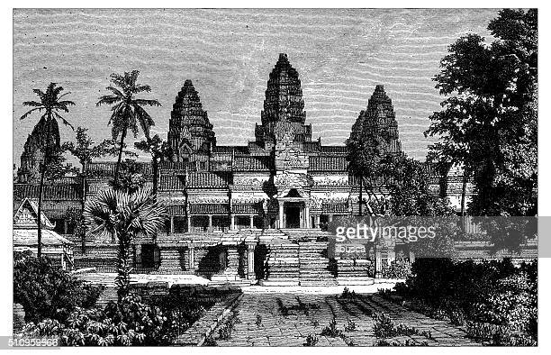 antique illustration of view of the angor wat (front) - bas relief stock illustrations