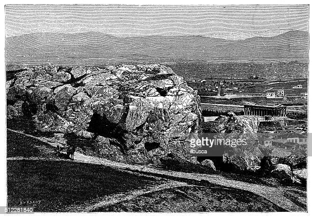 Antique illustration of view of the Areopagus hill (Athens)