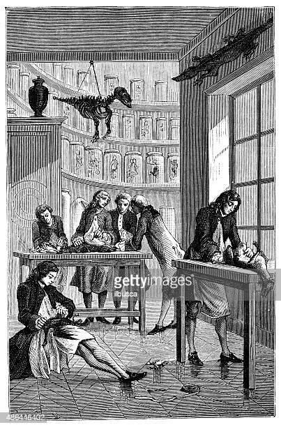 Antique illustration of vivisection lesson