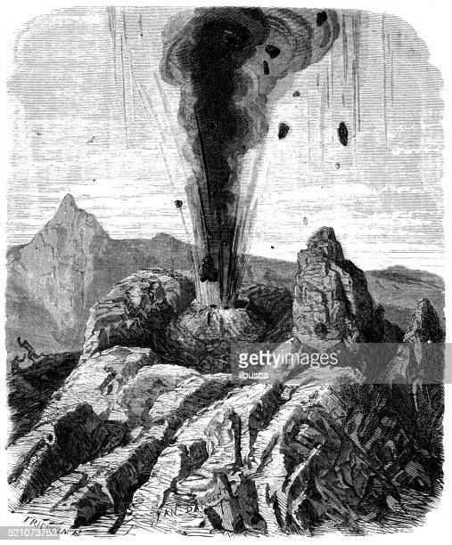 antique illustration of volcano eruption - volcano stock illustrations, clip art, cartoons, & icons