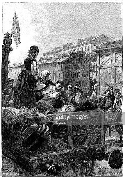 antique illustration of wagon converted to ambulance - epidemic stock illustrations