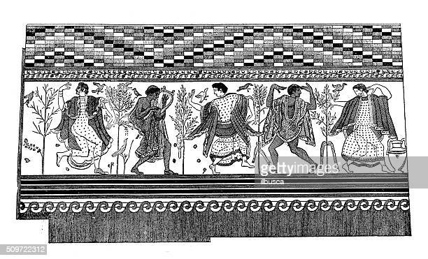 antique illustration of wall painting from etruscan tomb in tarquinia - etruscan stock illustrations