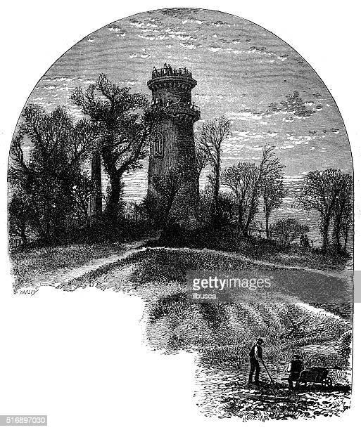 antique illustration of washington tower, mount auburn cemetery - landscape gardener stock illustrations, clip art, cartoons, & icons