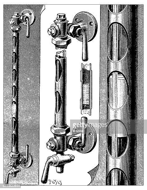 antique illustration of water level pipes - air valve stock illustrations, clip art, cartoons, & icons