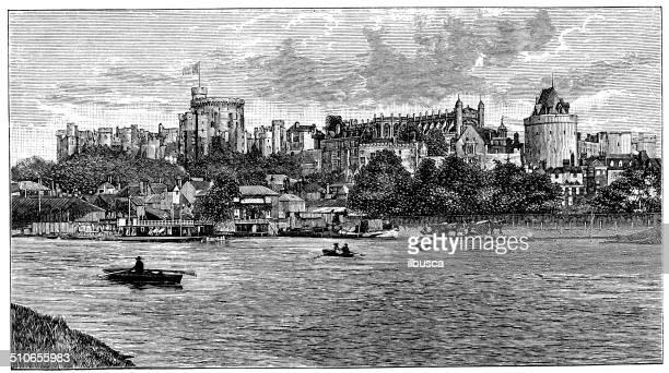 antique illustration of windsor castle - windsor castle stock illustrations