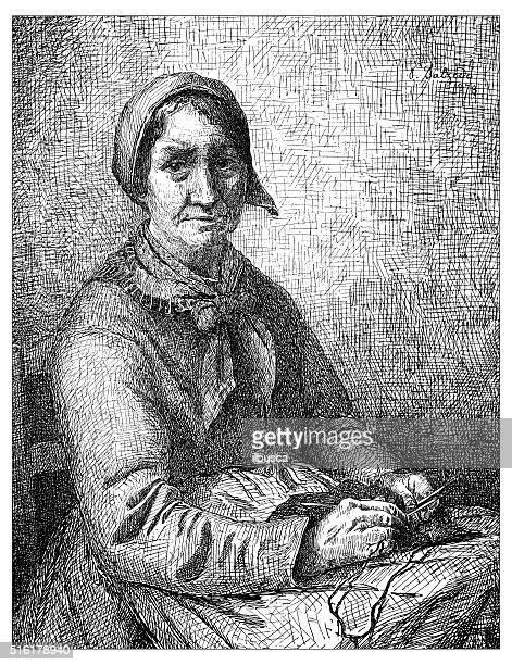 Anticuario ilustración de mujer de tejer