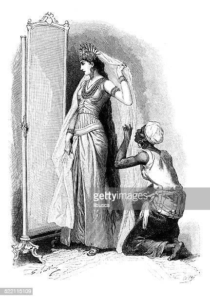 Antique illustration of woman looking in mirror