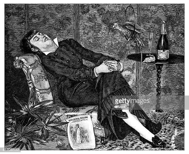 Ancienne illustration de Femme endormie sur son fauteuil