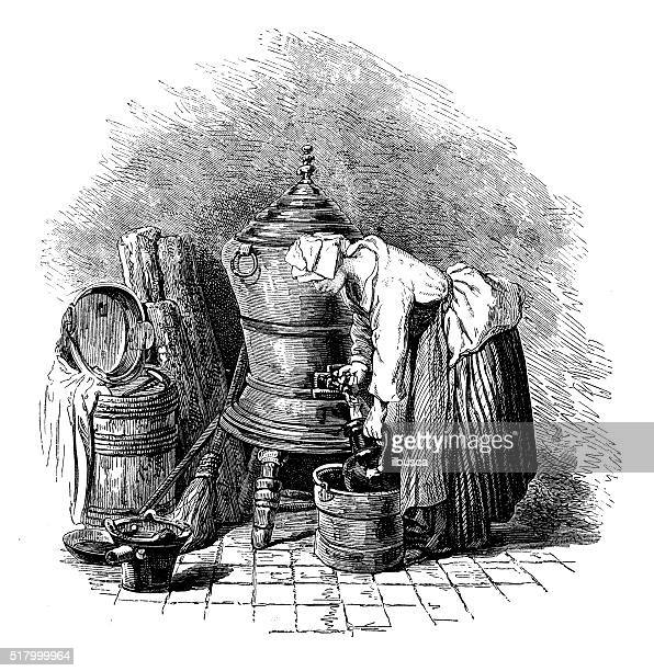 Antique illustration of woman working filling vase