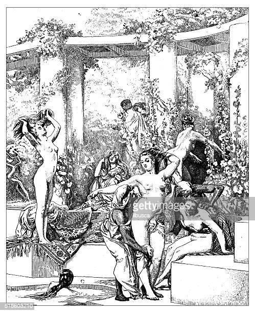 Antique illustration of women bathing in ancient Pompeii