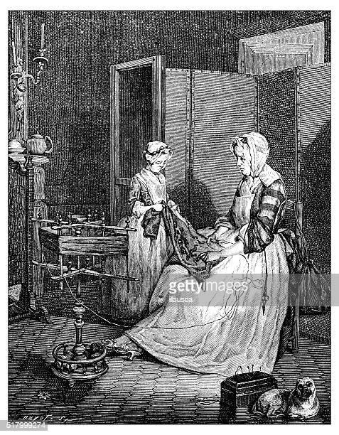 Antique illustration of women working