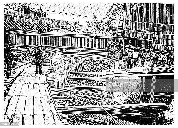 Antique illustration of works for the construction of Paris subway