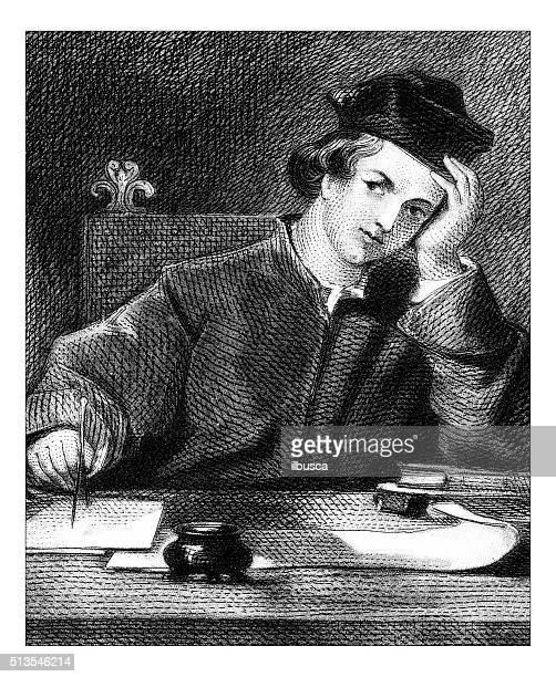Ancienne illustration de pensée écrivain