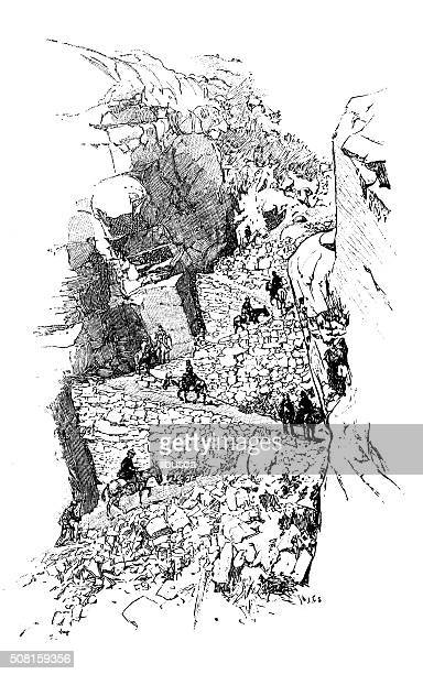 ilustraciones, imágenes clip art, dibujos animados e iconos de stock de anticuario ilustración de yosemite sendero - mula