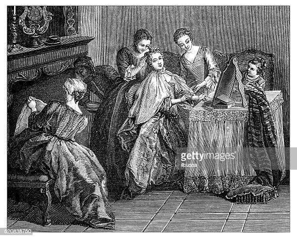 Antique illustration of young women's toilette at the dressing table