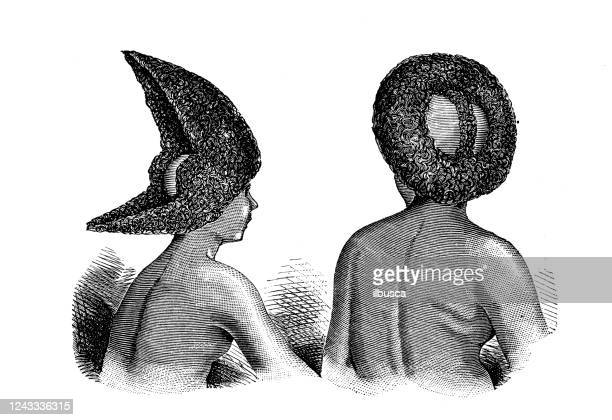 antique illustration: oromo (gallas) people - horn of africa stock illustrations