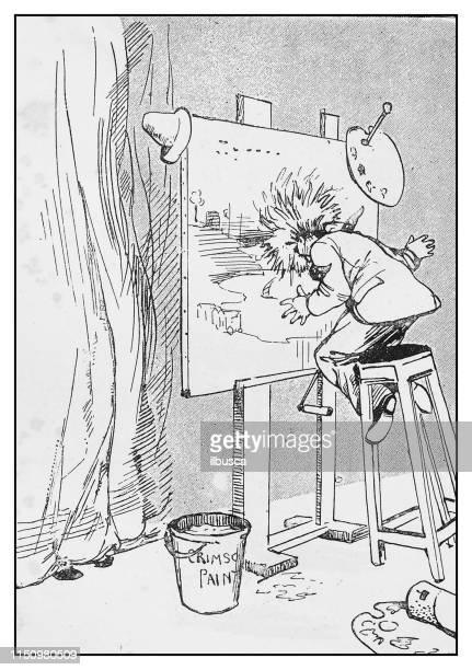 Antique illustration: Painter cartoon