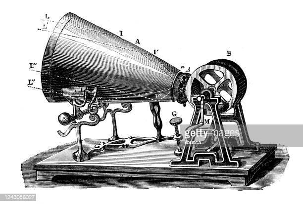 illustrazioni stock, clip art, cartoni animati e icone di tendenza di illustrazione antica: fonografo - studio di registrazione