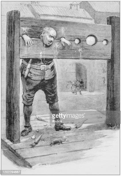 antique illustration: pillory - pillory stock illustrations