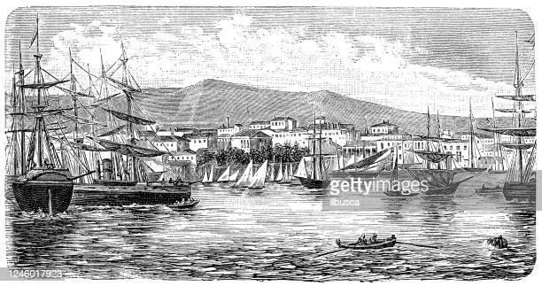 antique illustration: piraeus, athens - piraeus stock illustrations