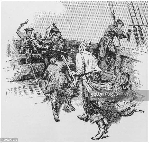 antique illustration: pirate's attack - pirate criminal stock illustrations