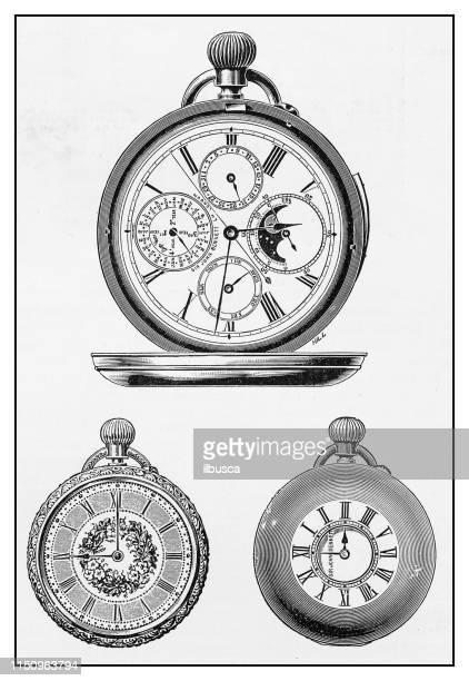 ilustraciones, imágenes clip art, dibujos animados e iconos de stock de ilustración antigua: reloj de bolsillo - reloj de bolsillo