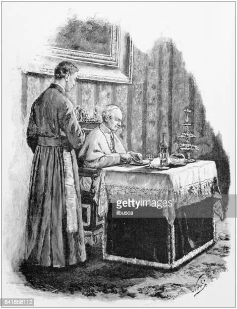 Antieke illustratie: paus ontbijt