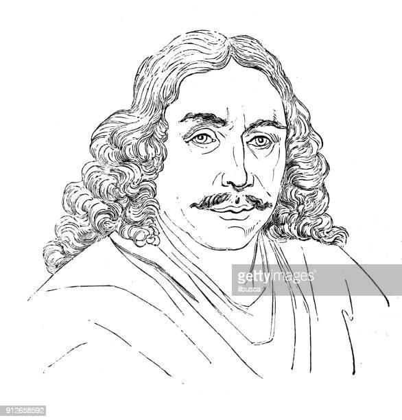 antique illustration: portrait of frans van mieris the elder - 1900 1909 stock illustrations