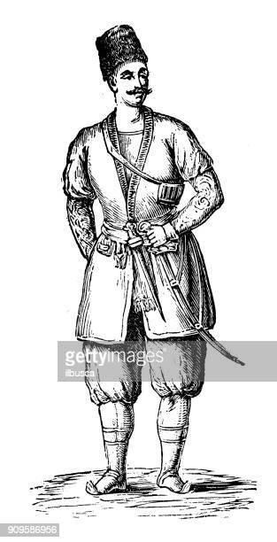antique illustration: portrait of georgian man - georgian culture stock illustrations