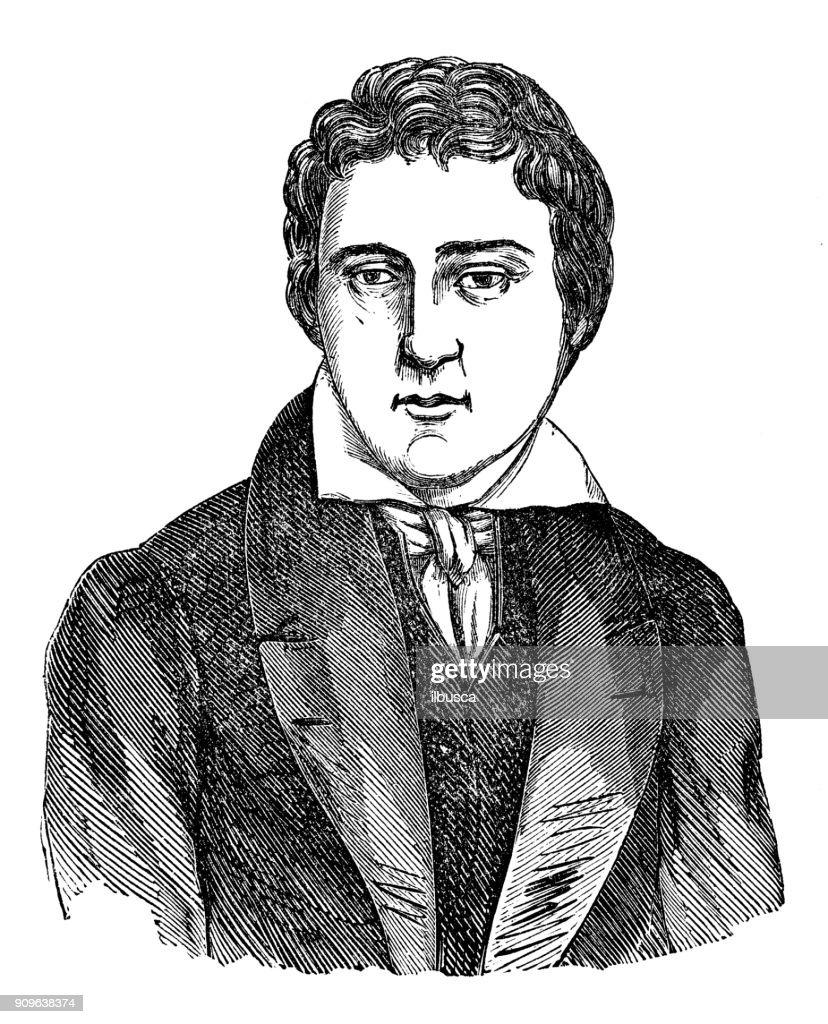 Antique illustration: Portrait of Heinrich Heine : stock illustration