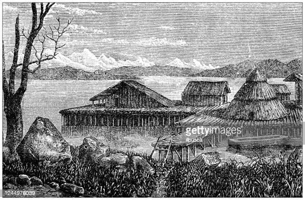 illustrazioni stock, clip art, cartoni animati e icone di tendenza di illustrazione antica: villaggio preistorico - homo sapiens
