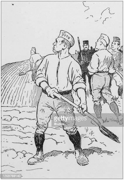 antique illustration: prisoner forced labour - labor camp stock illustrations