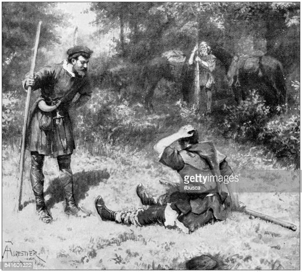 antique illustration: rod fight - dueling stock illustrations, clip art, cartoons, & icons