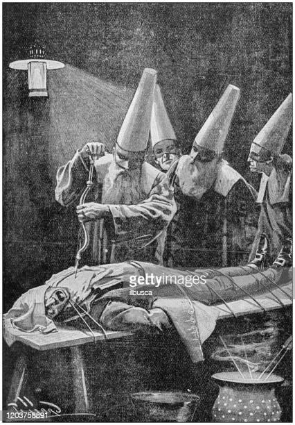 stockillustraties, clipart, cartoons en iconen met antieke illustratie: enge chirurgie - autopsy