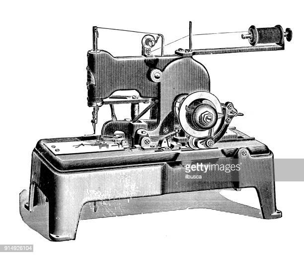 antique illustration: sewing machine - sewing machine stock illustrations, clip art, cartoons, & icons