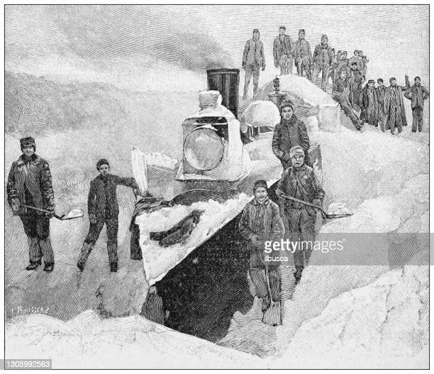 antique illustration: shoveling snow - snow shovel stock illustrations