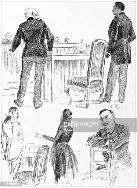 stockillustraties, clipart, cartoons en iconen met antieke illustratie: schetsen van alfred dreyfus trial - rechtszaak