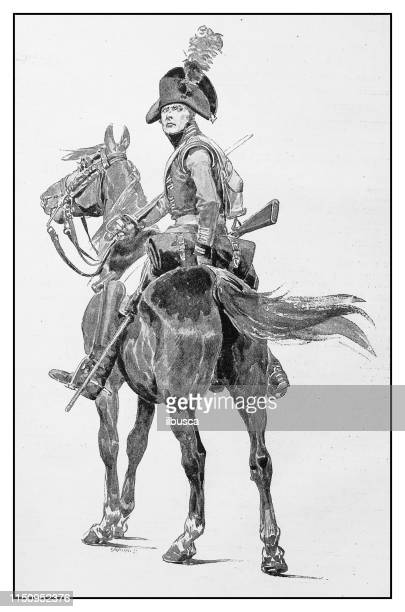 antique illustration: soldier on horse - cavalry stock illustrations