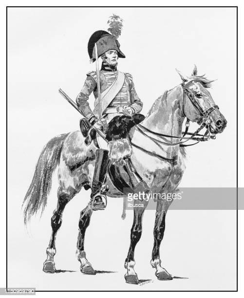 antique illustration: soldier on horse - british culture stock illustrations