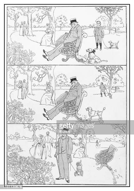 antique illustration: stealing dog - multiple image stock illustrations, clip art, cartoons, & icons