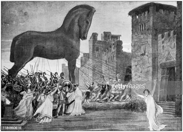 antique illustration: trojan horse - trojan war stock illustrations, clip art, cartoons, & icons