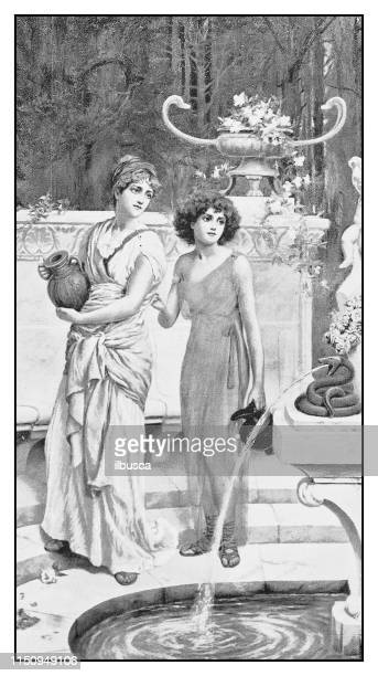 antique illustration: well of constancy - fountain stock illustrations, clip art, cartoons, & icons