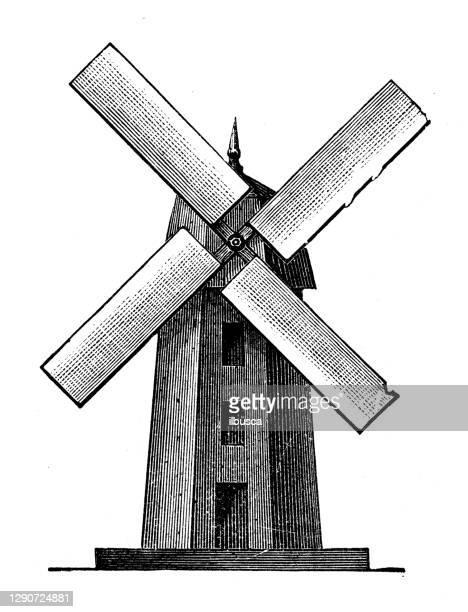 アンティークイラスト:風車 - 風車塔点のイラスト素材/クリップアート素材/マンガ素材/アイコン素材