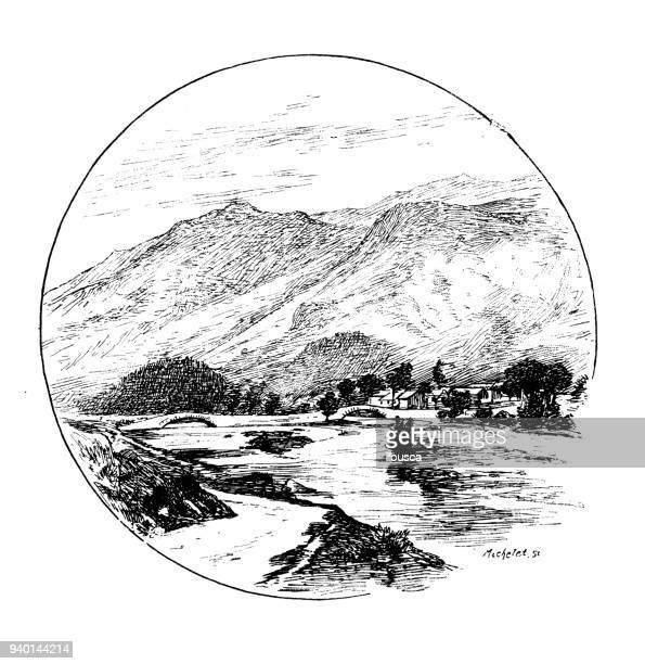 ilustraciones, imágenes clip art, dibujos animados e iconos de stock de antiguos ilustraciones de inglaterra, escocia e irlanda: valle de borrowdale - valle