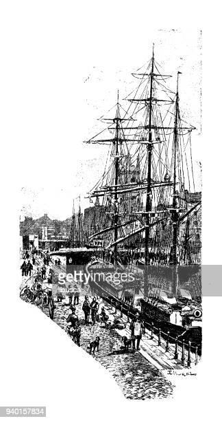 Antique illustrations of England, Scotland and Ireland: Bristol docks