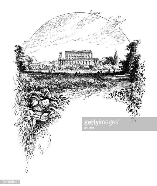 antique illustrations of england, scotland and ireland: cliveden castle - castle stock illustrations, clip art, cartoons, & icons