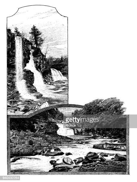 antique illustrations of england, scotland and ireland: clyde waterfall - clyde river stock illustrations, clip art, cartoons, & icons