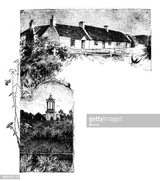 antique illustrations of england, scotland and ireland: country house and burns monument - english culture stock illustrations