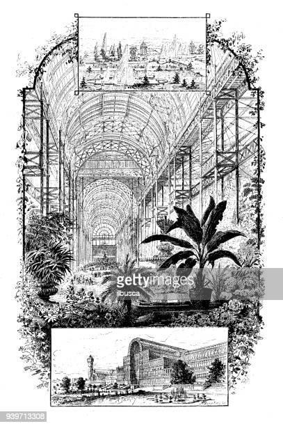 antique illustrations of england, scotland and ireland: crystal palace - crystal palace london stock illustrations