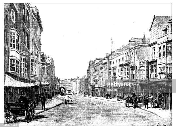 antique illustrations of england, scotland and ireland: high street, portsmouth - high up stock illustrations, clip art, cartoons, & icons
